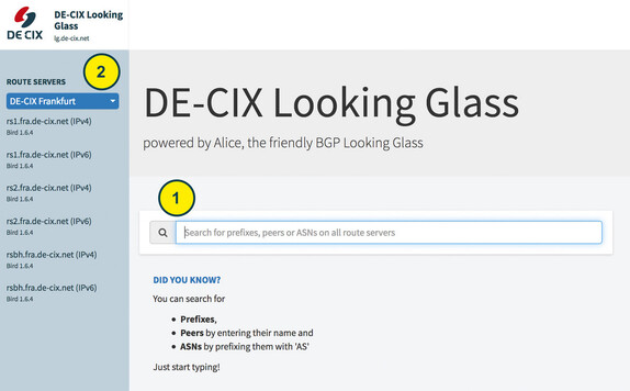 DE-CIX Looking Glass search
